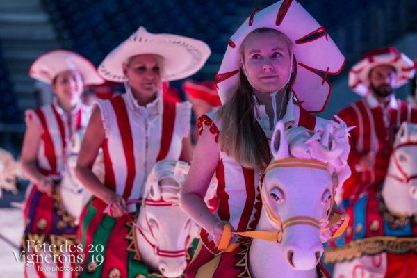 Filage en costume du 10 juillet 2019, fête des vignerons 2019 - Cent pour Cent, Faux chevaux, Répétitions, Photographies de la Fête des Vignerons 2019.