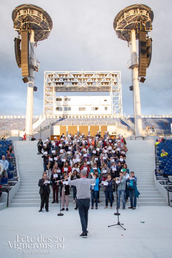 Répétition arène - Arène, Harmonie de la Fête, Musiciens de la Fête, Musiciens harmonie, Répétitions, Photographies de la Fête des Vignerons 2019.
