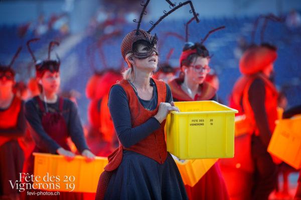 Filage en costumes - Choristes-percussionnistes, Fourmis, Musiciens de la Fête, Vendanges, Photographies de la Fête des Vignerons 2019.