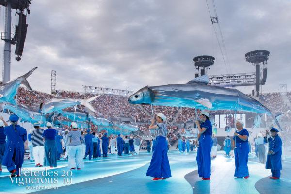 Spectacle - Arène, Marins, On a le droit de pêcher, Spectacle, Photographies de la Fête des Vignerons 2019.