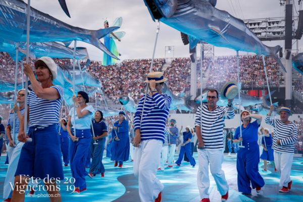 Spectacle - Libellule, Marins, On a le droit de pêcher, Spectacle, Photographies de la Fête des Vignerons 2019.
