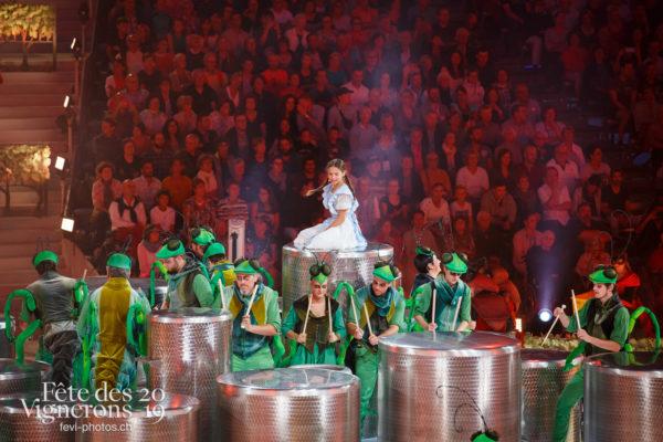 Spectacle - Libellule, Percussionnistes, Petite Julie, Prologue, Sauterelles, Spectacle, Photographies de la Fête des Vignerons 2019.