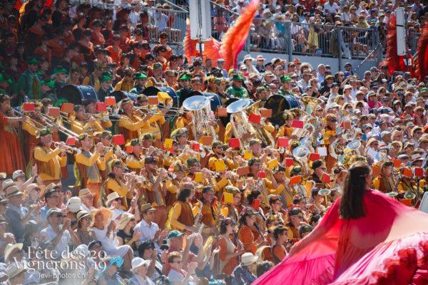 Spectacle de jour, dernière représentation - Flammes, Harmonie de la Fête, J'arrache, Musiciens de la Fête, Musiciens harmonie, Spectacle, Spectacle jour, Sport Flammes, Photographies de la Fête des Vignerons 2019.