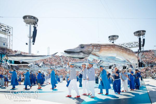 Spectacle de jour, dernière représentation - Arène, Marins, On a le droit de pêcher, Spectacle, Spectacle jour, Photographies de la Fête des Vignerons 2019.