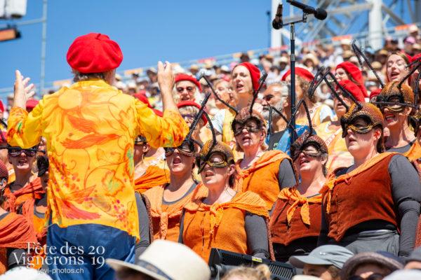 Spectacle de jour, dernière représentation - Chœurs de la Fête, Choristes-percussionnistes, Fourmis, Musiciens de la Fête, Saint-Martin, Spectacle, Spectacle jour, Photographies de la Fête des Vignerons 2019.