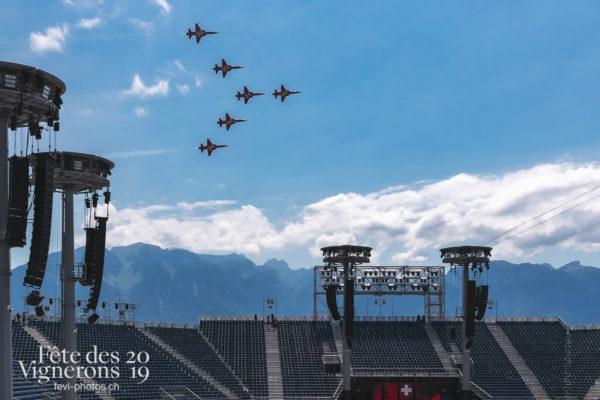 Essai Patrouille et Avion SWISS - Arène, Avion Swiss, f-5, f-5-e-tiger-ii, fa18, Patrouille suisse, tiger, Photographies de la Fête des Vignerons 2019.