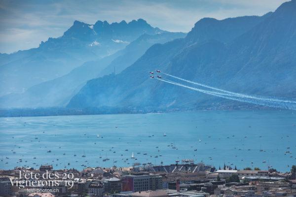Patrouille et Avion SWISS - Arène, Avion Swiss, f-5, f-5-e-tiger-ii, fa18, Patrouille suisse, tiger, Photographies de la Fête des Vignerons 2019.