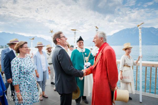 Journée cantonale, défilé des autorités thurgoviennes et accueil aux Terrasses de la Confrérie par François Margot.